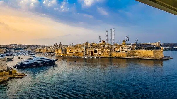 Malta, Puerto, Barco, Crucero, Fortaleza