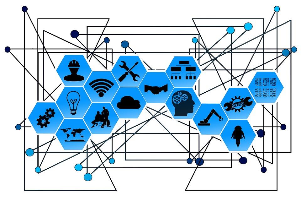 ウェブ, ネットワーク, ポイント, ライン, インターフェイス, 業界, 産業4, 0