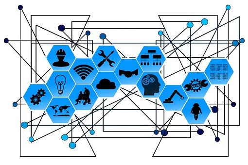 Web, rede, pontos, linhas, interfaces