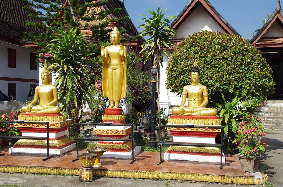 老撾, Luang-Parbang, 寺, 佛, 雕像, 祈禱, 宗教, 佛教, 老廟, 花園, 微笑