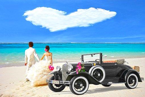 オールドタイマー, 新郎新婦, 雲の中心, 新婚旅行, ブライダルカー