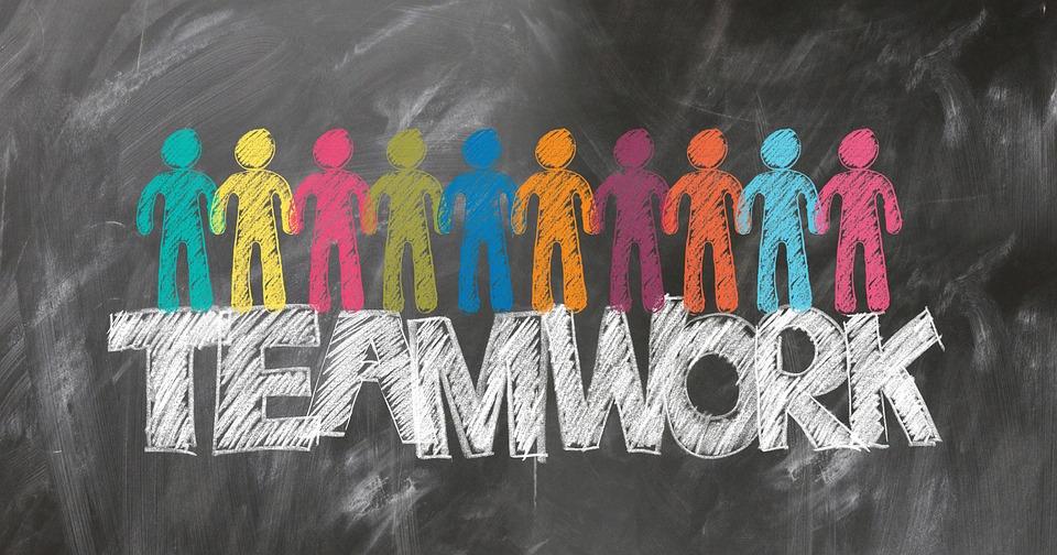 チームワーク, チーム, 装備, ボード, チョーク, 孵化, 歯車, ドライブ, 人, グループ