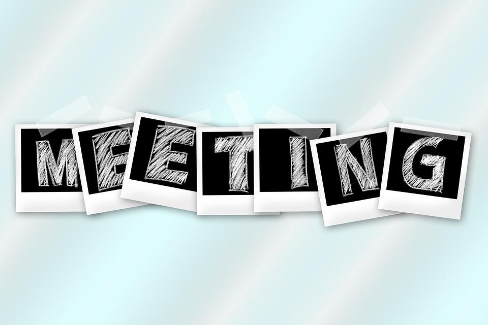 会議、ポラロイド、グループ、チーム、ビジネスマン、雲
