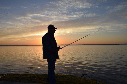 Fisherman, Portrait, Silhouette, Fishing