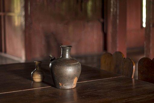古道具, 古い, 花瓶, 家具, ビンテージ, アンティーク, インテリア
