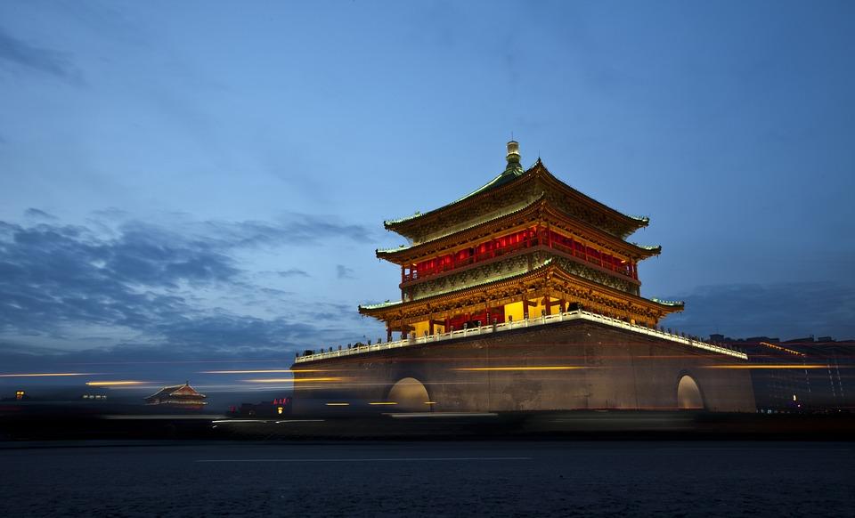 Китай, Сиань, Башня Колокола, Здание, Пейзажи, Туризм