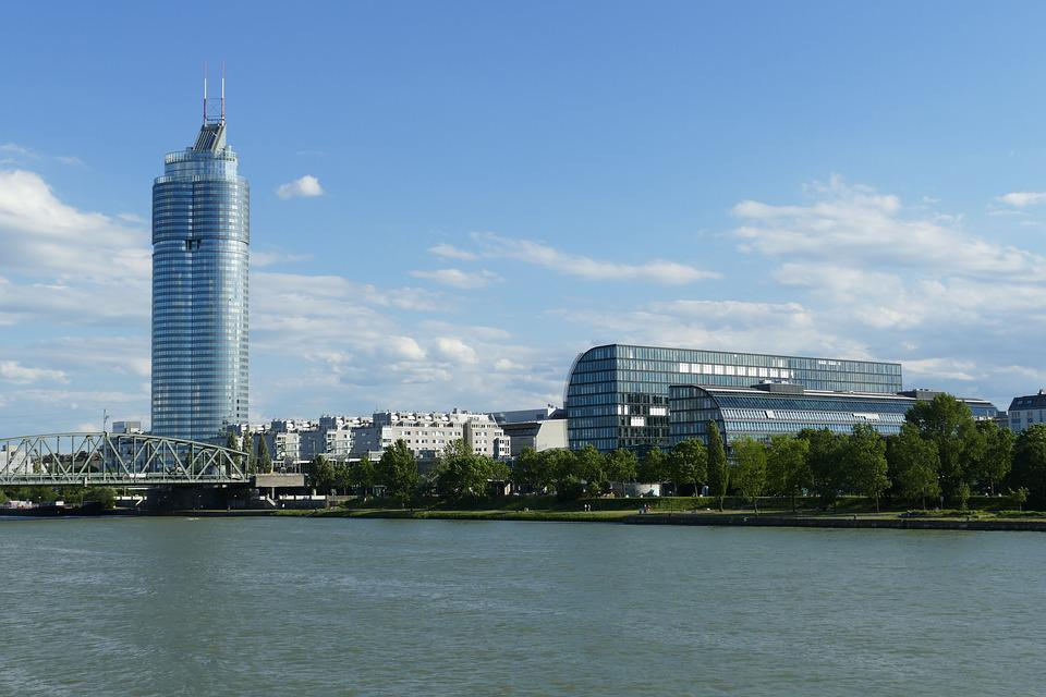 Boat trip view from Danube canal Vienna.