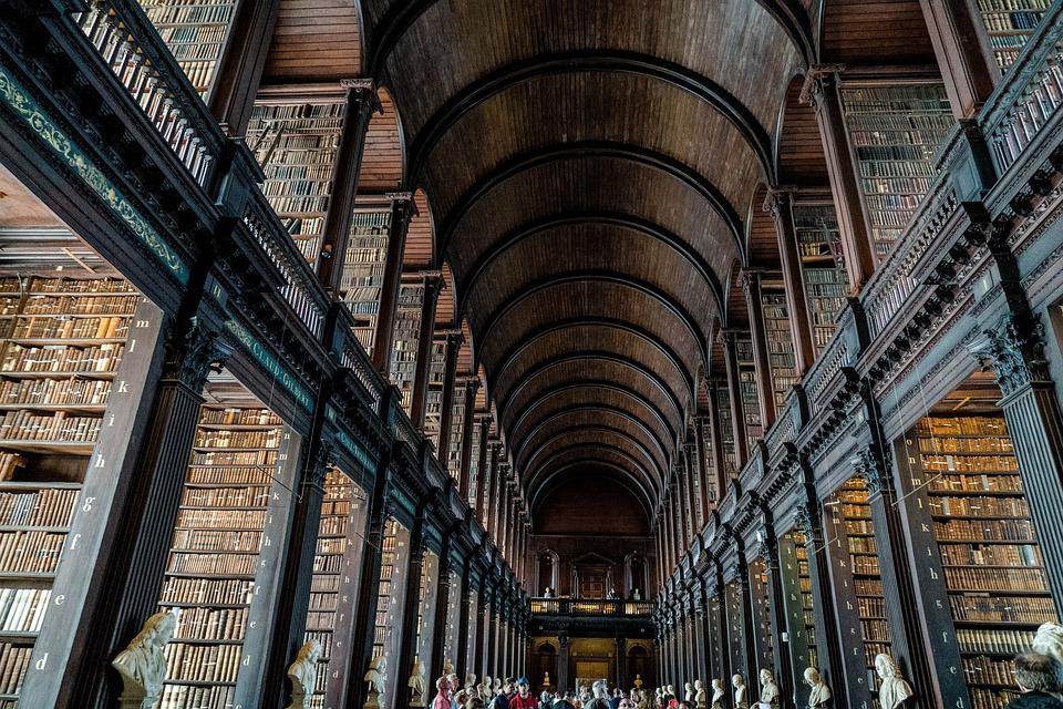 Biblioteki, Książek, Dublin, Irlandia, Trinity