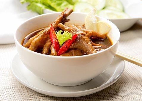 Chicken, Leg, Soup, Menu, Lunch, Cafe
