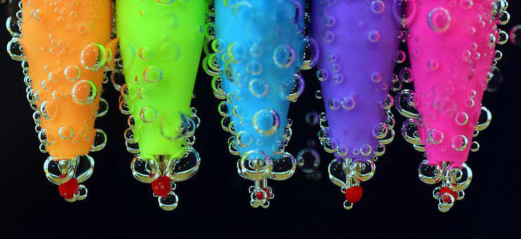 ペン, 水, 色鉛筆, 水中, クローズ, 打撃, 空気の泡, 描画, アート