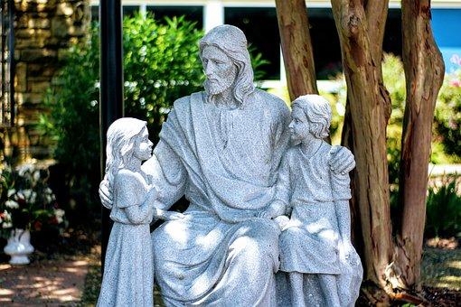 Jesus Christ, Statue, Children, Catholic
