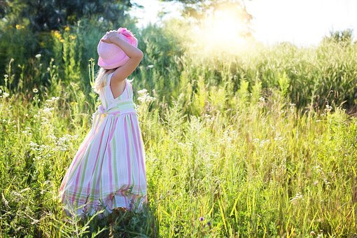 Little Girl, Wildflowers, Meadow, Child