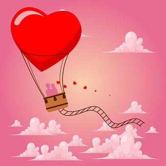 Ballon, Love, Silhouette, Couple