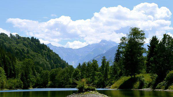 Auwaldsee, Forest, Lake, Pond, Mountains