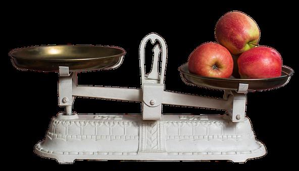 水平, アップル, 体重コントロール, フルーツ, 重量を量る, 食品