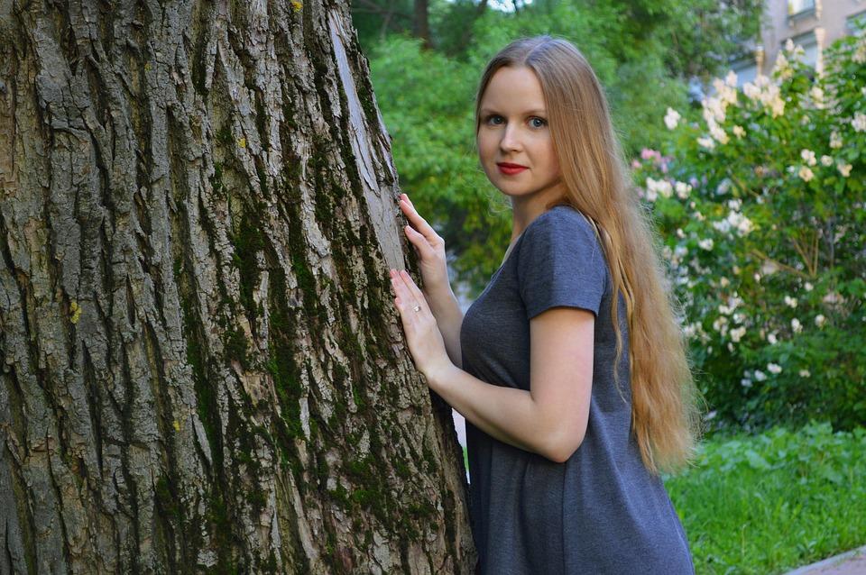Lány, Nyári, Zöldek, Park, Természet, Fénykép