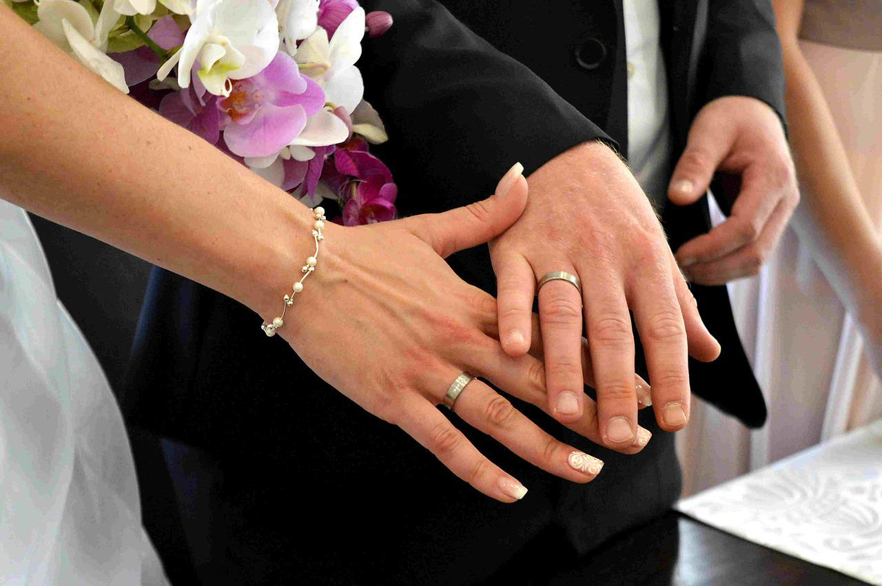 Картинка обручальные кольца на руках