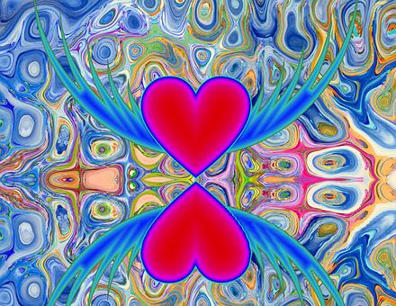 Coeur, Amour, Isolé, Rouge, Romantique