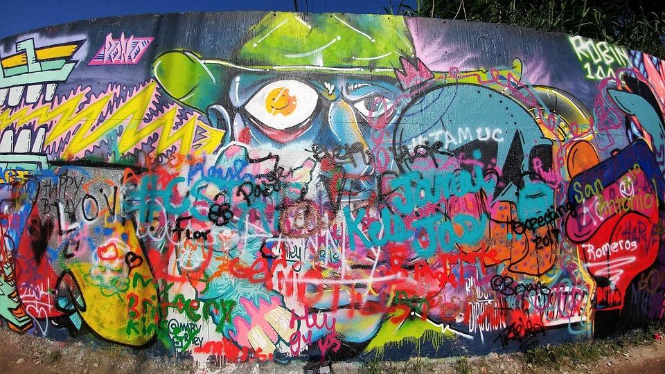 Graffiti pared graffiti la pared arte callejero mural antigua habitacin con el ladrillo corazn - Graffiti zimmerwand ...