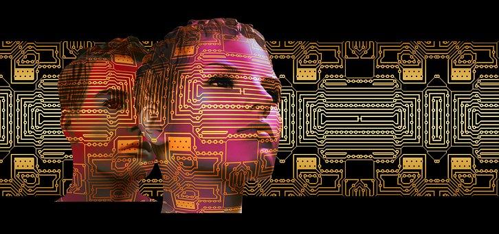 Quadro, digitalização, rosto, tecnologia
