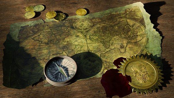 アドベンチャー, 宝の地図, 旧世界地図, コンパス, 海賊, 海賊の宝