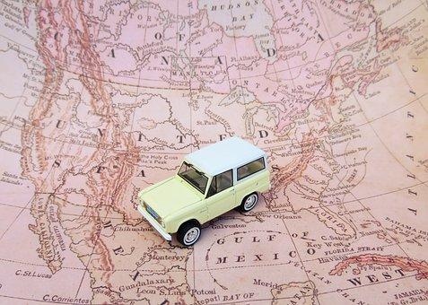 地図, 車, おもちゃ, 道路の旅, フォードブロンコ, 北アメリカ, ルート