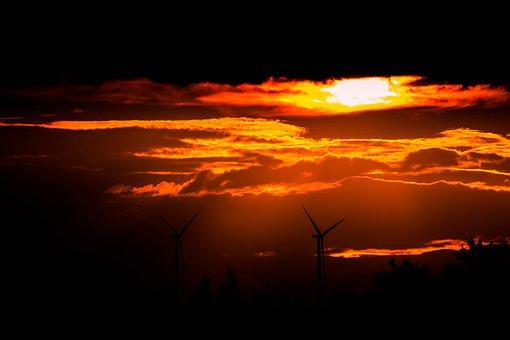 Sunset, Wind Power, Windräder