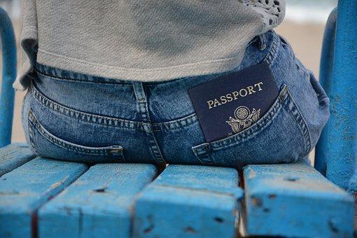 渡す, パスポート, Id, Id カード, ドキュメント, パンツ, ポケット