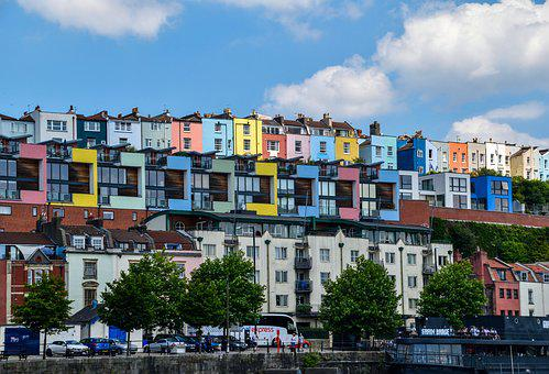 Houses, Colour, Colourful, Bristol