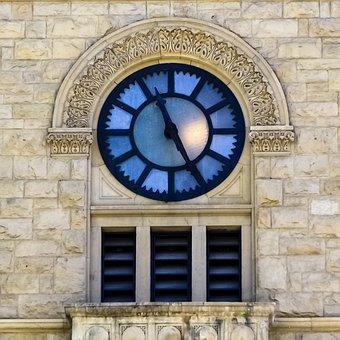 Clock, White, Building, Classic, Vintage