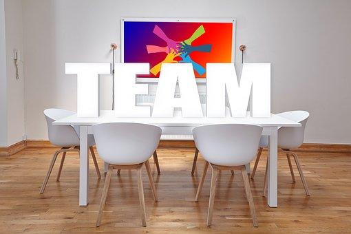 Konferenz, Team, Büro, Tische, Stühle