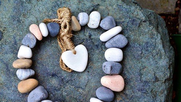 Steine, Kette, Herz, Kordel, Liebe