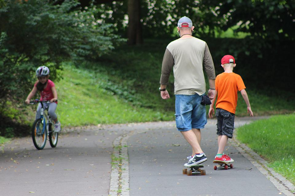 Family, Sport, Bike, Skateboard, Outdoors, People, Fun