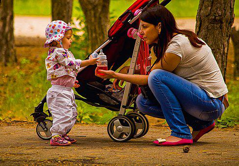 Mom, Daughter, Baby, Pram, Park