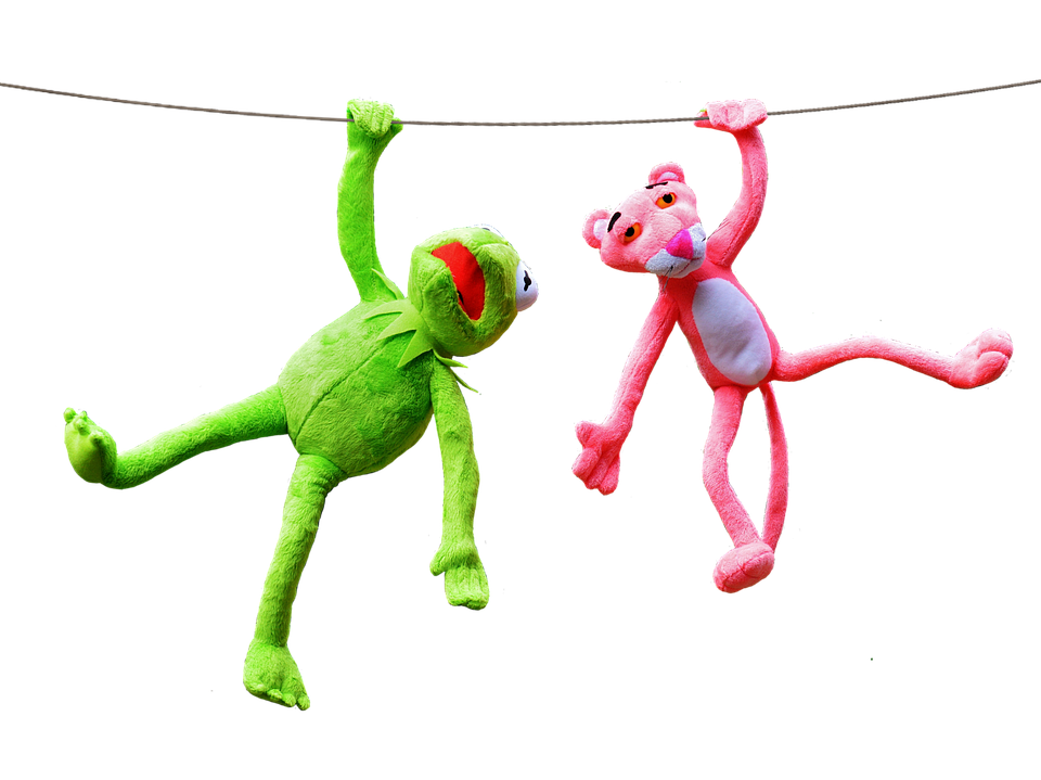 free photo  kermit  pink panther  plush toys - free image on pixabay