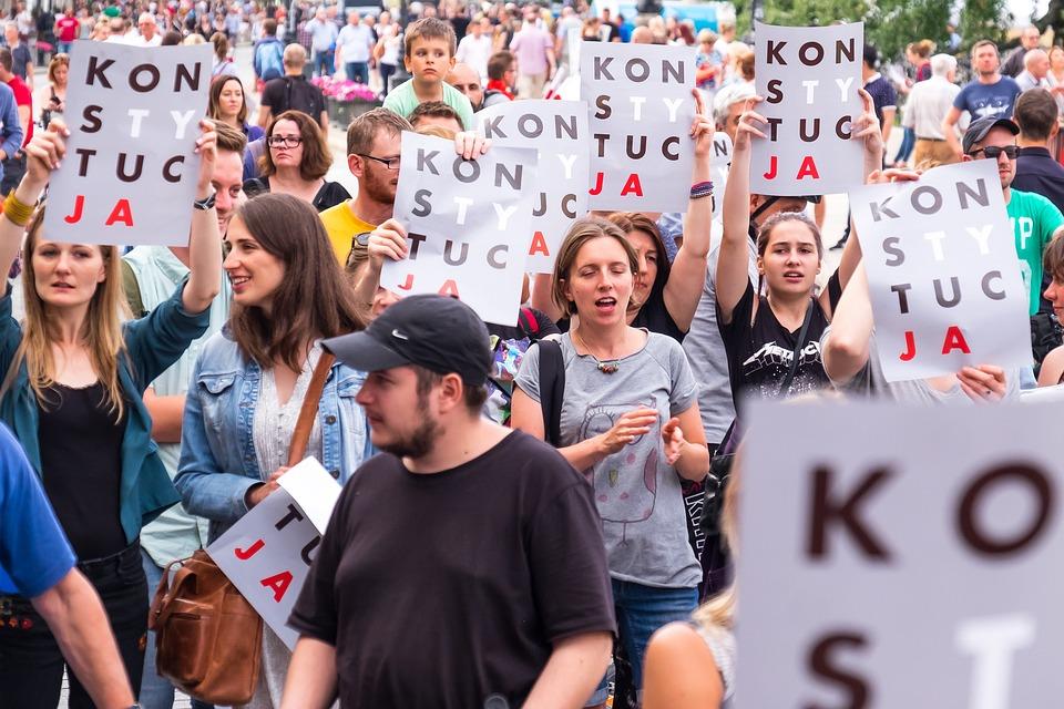 ポーランド, 政治, 抗議, 女性, 憲法, 女の子, デモ, ラリー, 兆候, 若者, ポスター, 人