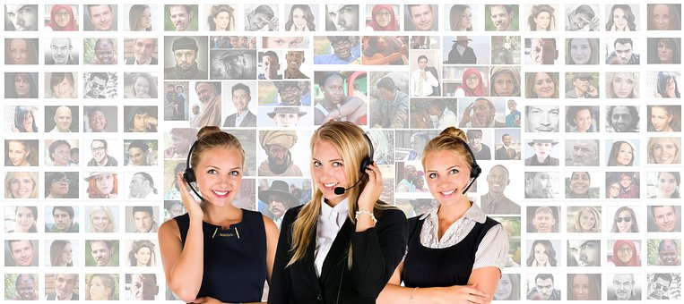 Call Center, Headset, Woman, Human