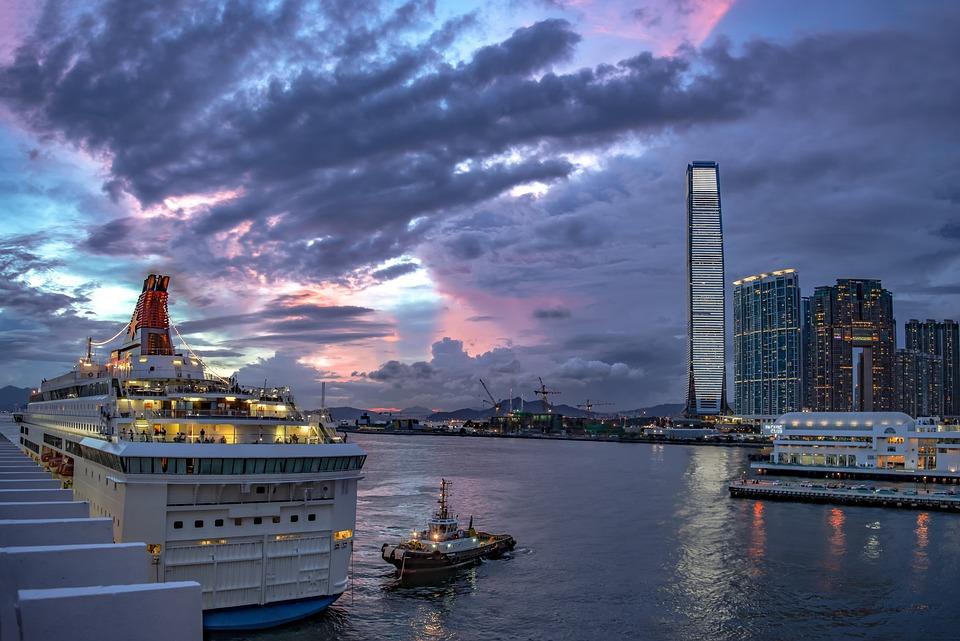Hong Kong, Fartyg, Hamn, Kvällen, Humör, Himmel