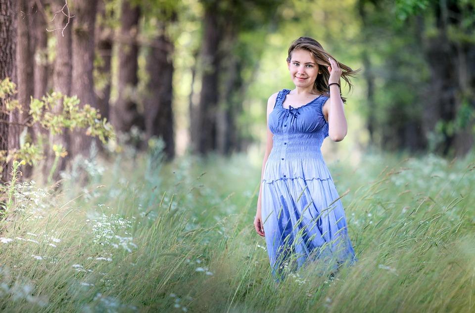 女の子, フォレスト, 妖精, 散歩, サンドレス, ストーリー, 夏, 美しい, モデル, 自然