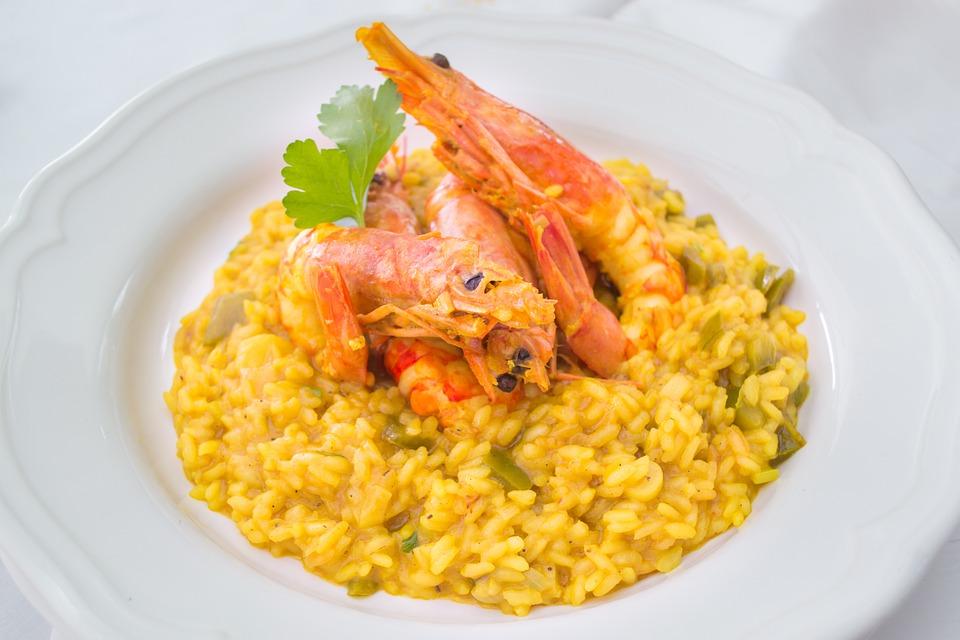 Alimentaire, Risotto, Safran, Crevettes, Fruits De Mer