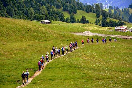 ハイキング, トレイル, 山, 歩く, グループ, バックパック, 遠足