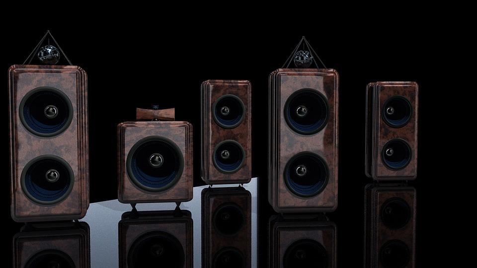 扬声器, 框, 高保真, 围框, 音乐, 呈现, 3D, 声音, 音频, 低音, 无线, 系统, 的声音