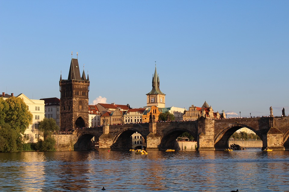 Praag, Vltava, Rivier, Brug, Charles Bridge, Romance