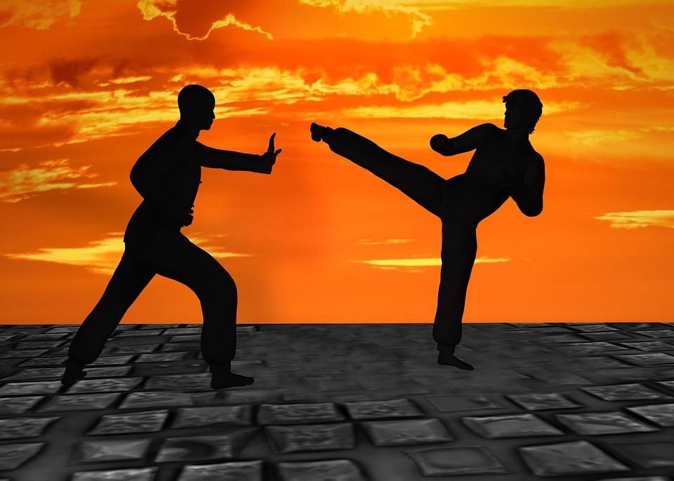 武道, Silhuetten, ムエタイ, キック ボクシング, カンフー, 攻撃, 戦う, かわす, 防衛