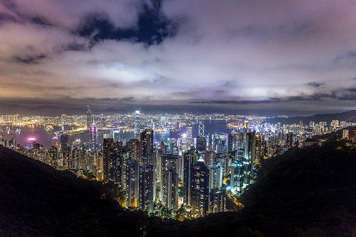 Hong Kong, City, Night, China, Asia
