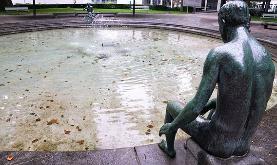 喷泉, 数字, 雕像, 苏黎世, 水景, 水, 艺术, 秋季, 夏季, 叶子