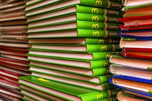 英語, 書籍, 本のスタック, 学校に戻る, 学校, 図書杭, 知っています