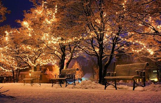 Bank, Weihnachten, Licht