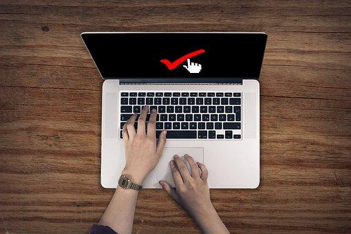 Laptop, teclado, mãos, mãos, qualidade