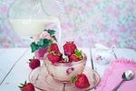 strawberries, cream, milk